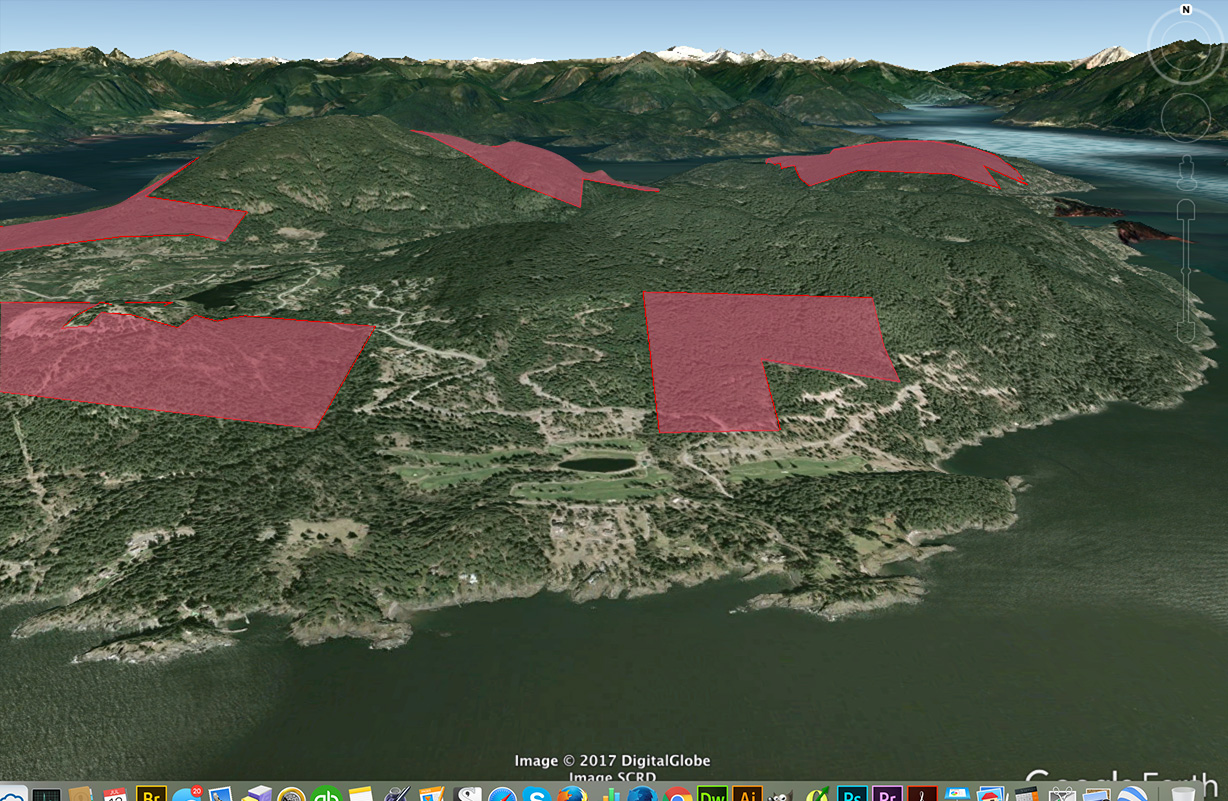 3D rendering in Google Earth of Cowan Point ,showing large area shaped like an upsidedown L on the hill above the golf course