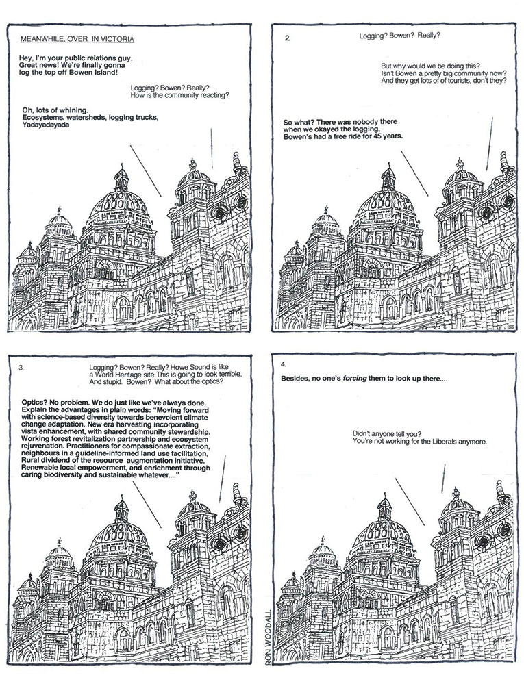 Four panels with sketches of the legislature with text for minister discussing logging on Bowen with forestry boss - cartoon by Ron Woodall