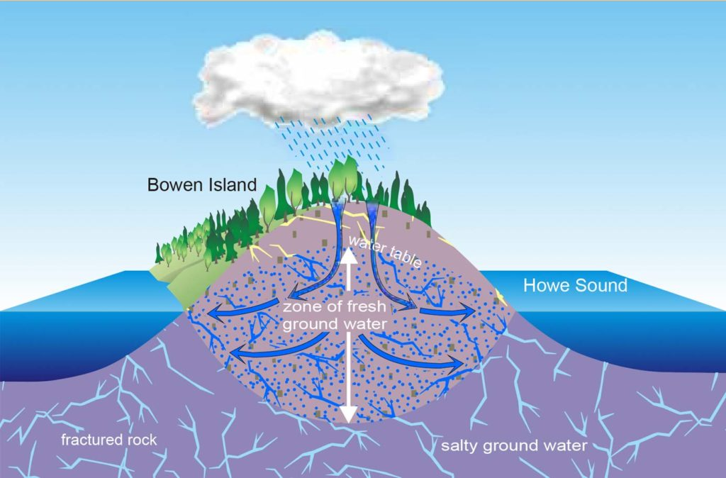 diagram of cracks and fissures under an island mountain filled with water, some fresh and some salty