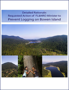Cover has the title Requested Action of FLNRO Minister to Prevent Logging on Bowen Island and photos of the forest from above and kids hugging a tree